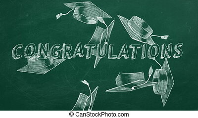 "Congratulations - Hand drawing text ""Congratulations"" and..."