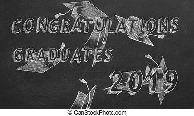Congratulations graduates. 2019. - Hand drawing text...