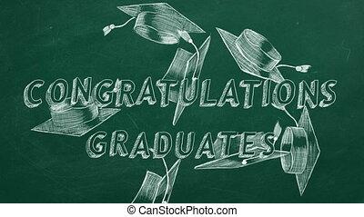 Congratulations graduates - Hand drawing text...