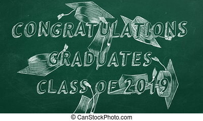 Congratulations graduates. Class of 2019. - Hand drawing...