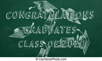 Congratulations graduates. Class of 2020. - Hand drawing ...