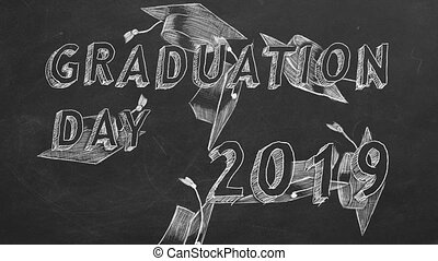 """Graduation day. 2019. - Hand drawing text """"Graduation day...."""