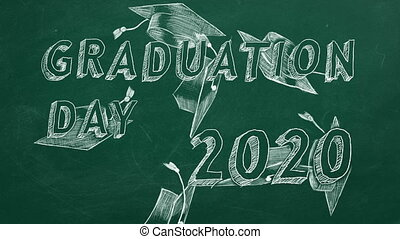 "Graduation day. 2020 - Hand drawing text ""Graduation day. ..."