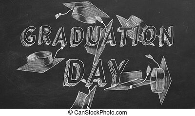 "Graduation day - Hand drawing text ""Graduation day"" and ..."