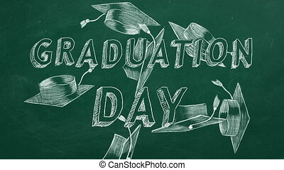 "Hand drawing text ""Graduation day"" and graduation caps on green chalkboard."