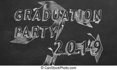"Graduation party. 2019 - Hand drawing text ""Graduation party..."