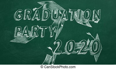 "Graduation party 2020 - Hand drawing text ""Graduation party ..."