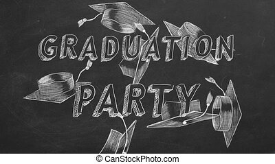 "Graduation party - Hand drawing text ""Graduation party"" and..."