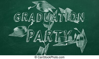 "Graduation party - Hand drawing text ""Graduation party"" and ..."