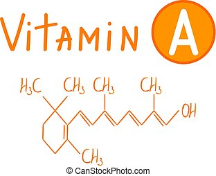 Hand drawing the chemical formula of vitamin A