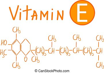 Hand drawing the chemical formula of vitamin E