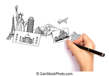 Hand drawing the travel around the world in a whiteboard