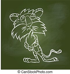 Hand drawing Tiger on Green board -Vector illustration