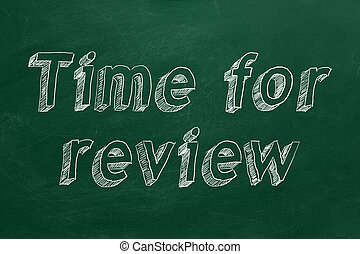 """Time for review - Hand drawing """"Time for review"""" on green ..."""