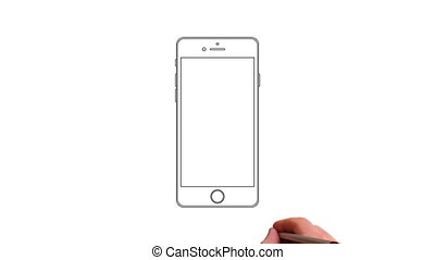 Hand drawing touch screen smart phone animation