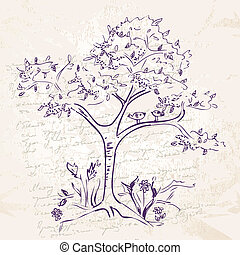 hand-drawing tree doodle