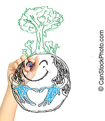 hand drawing tree on earth