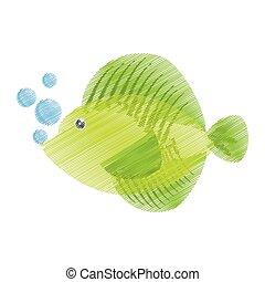 hand drawing tropical fish sea life bubbles