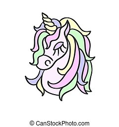 Hand drawing unicorn head sketch isolated on the white