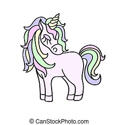 Hand drawing unicorn icon isolated on the white background