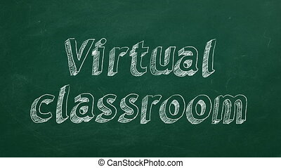 "Virtual classroom - Hand drawing ""Virtual classroom"" on..."