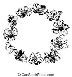 Hand drawing watercolor black anemone flowers and leaves ornament frame