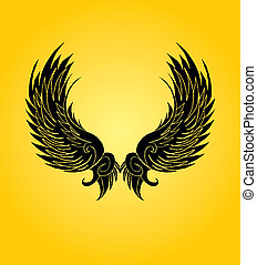 hand drawing wings vector art