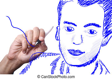 hand drawing with a blue pencil over a white background