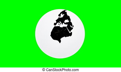 Hand drawing world globe with green background and white...