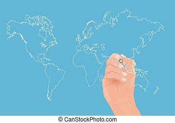 Hand Drawing World Map Illustration