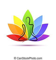 hand drawing yoga person sitting in a lotus pose rainbow colors