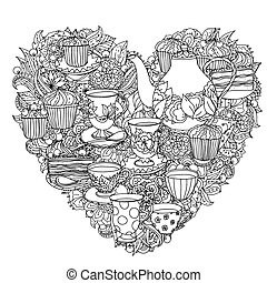Zentangle elements of time for tea, cups, teapot, cake and cupcakes. Black and white. Vector illustration. The best for your design, textiles, posters, tattoos, corporate identity, coloring book