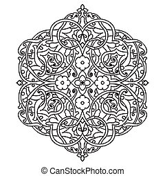 Hand drawing zentangle element. Flower mandala. Islam,...