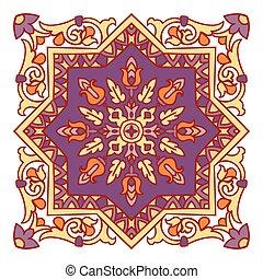 Hand drawing zentangle mandala color element. Italian...