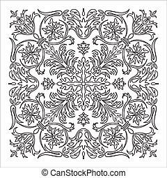Hand drawing zentangle mandala element. Italian majolica...