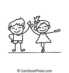 hand drawings cartoon happy kid