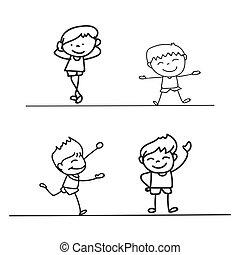 hand drawings cartoon happy kid