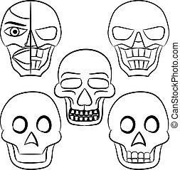 hand-drawn, állhatatos, koponya