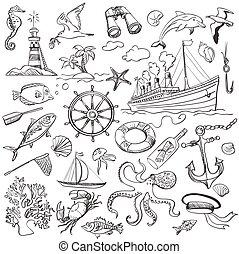 hand-drawn, στοιχεία , ναυτικό , θέμα