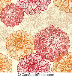 hand-drawn, פרחים, של, דהליה