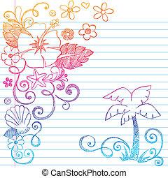 hand-drawn, トロピカル, ハイビスカス, 花