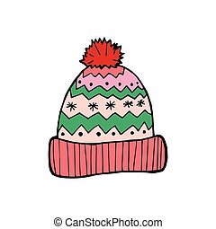 hand-drawn, ベクトル, 帽子