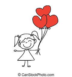 hand-drawn, 愛, 漫画
