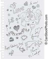 hand-drawn, 愛, doodles