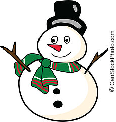 hand-drawn, 漫画, 雪だるま