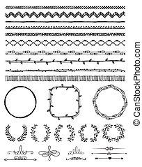 hand-drawn, 要素, デザイン, seamless, ボーダー