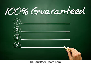 Hand drawn 100 Percent Guaranteed blank list, business concept o