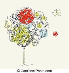 hand-drawn, 2, skiss, träd.