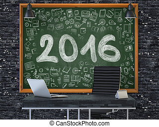Hand Drawn 2016 on Office Chalkboard.