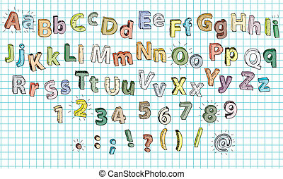 Hand Drawn 3D Alphabet ABC in colours